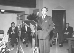 Premier Tommy Douglas addressing audience attending the official opening of the Saskatchewan Research Council Laboratory in 1947.