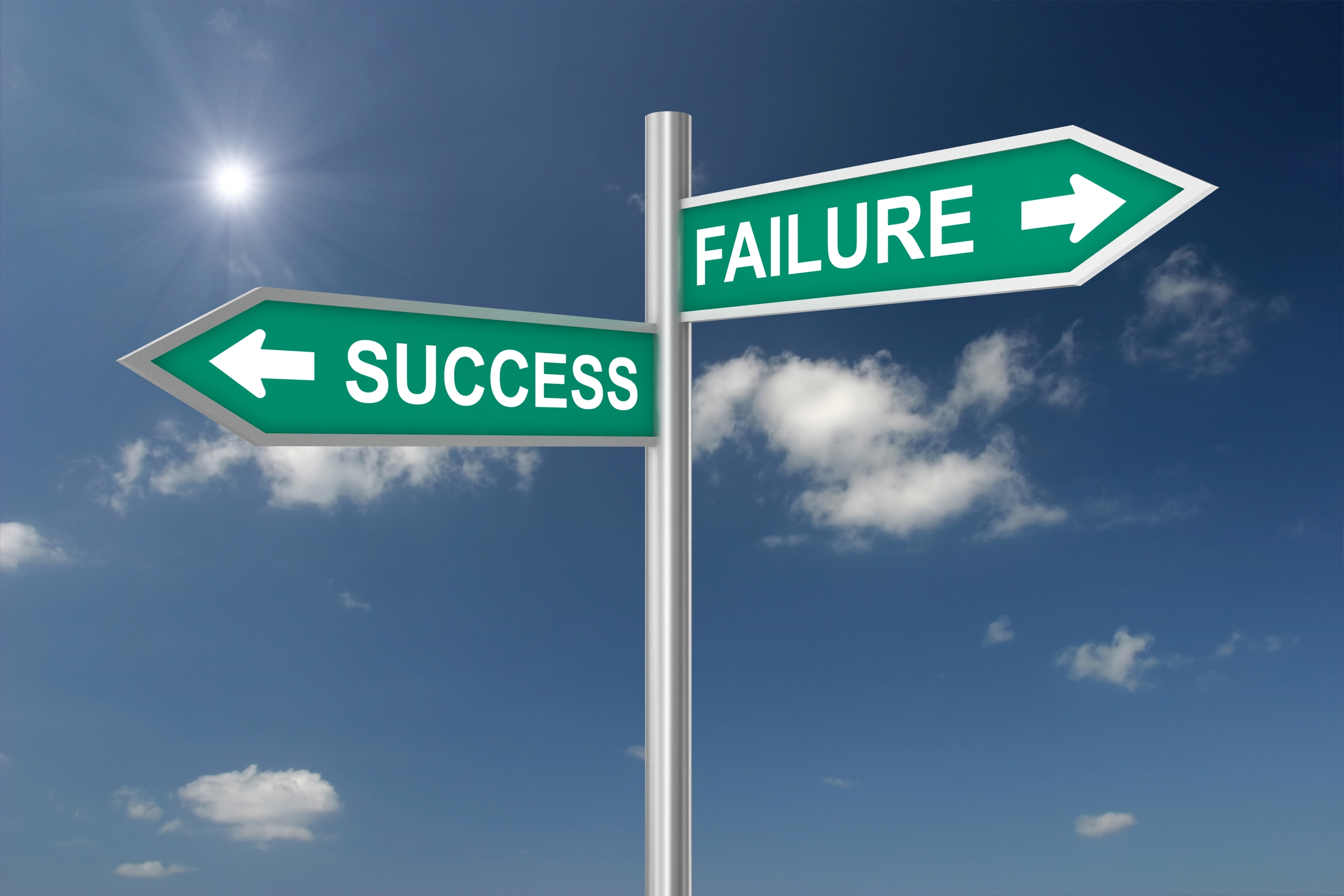 sign wth success and failure pointing in different directions