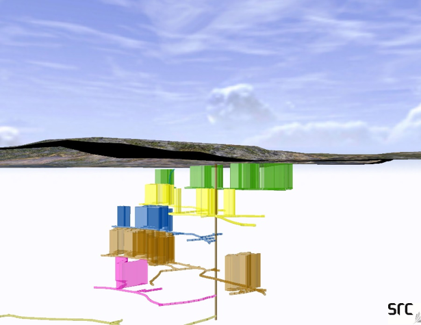 3-D model showing underground workings