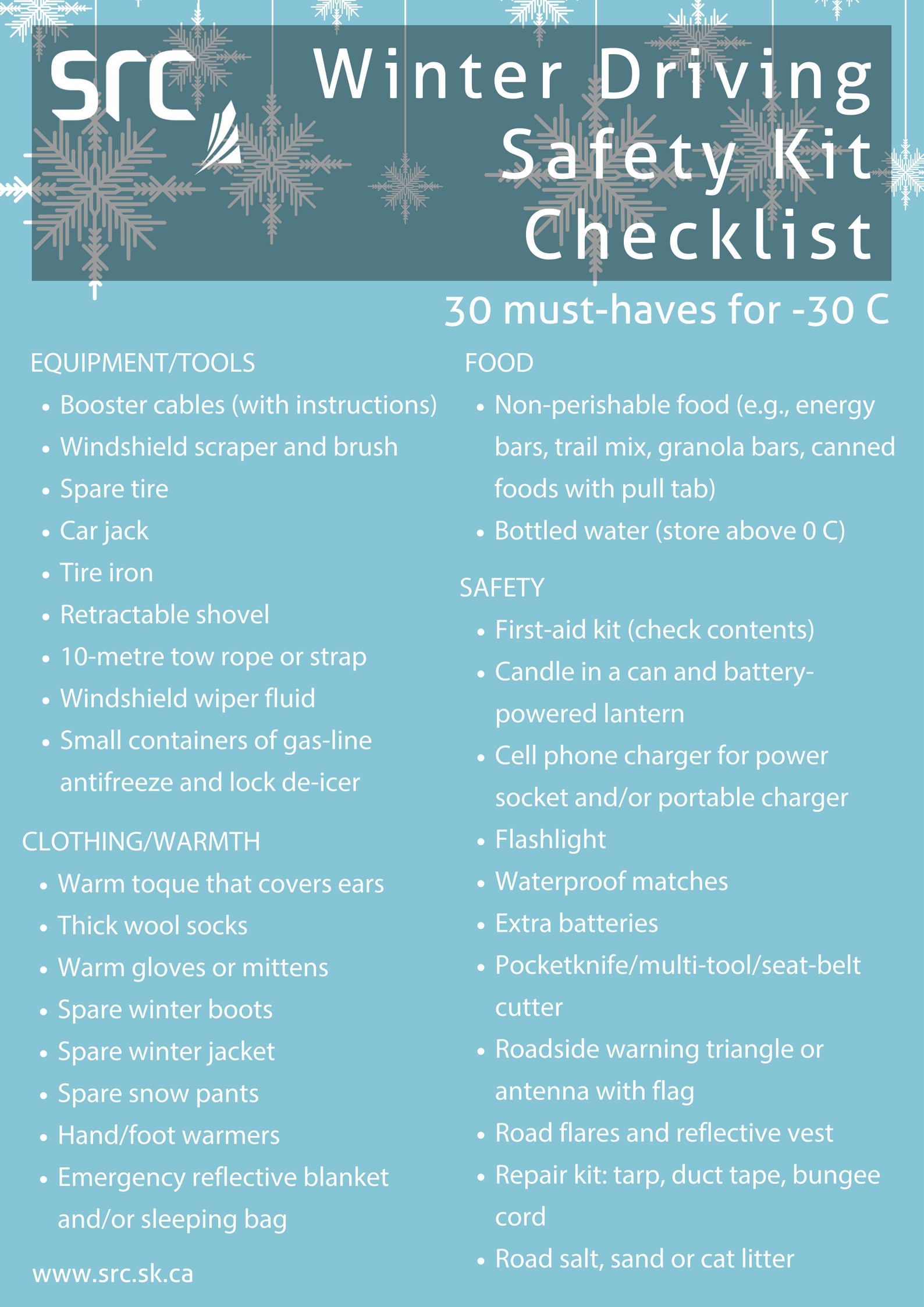 winter driving safety kit checklist