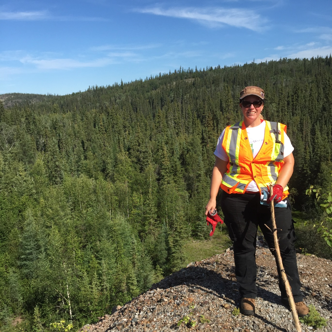 src geoscientist patty ogilvie-evans in a forested area