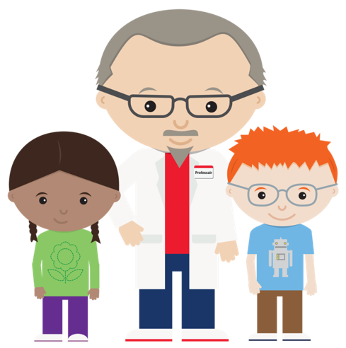 cartoon graphic of two children and a professor