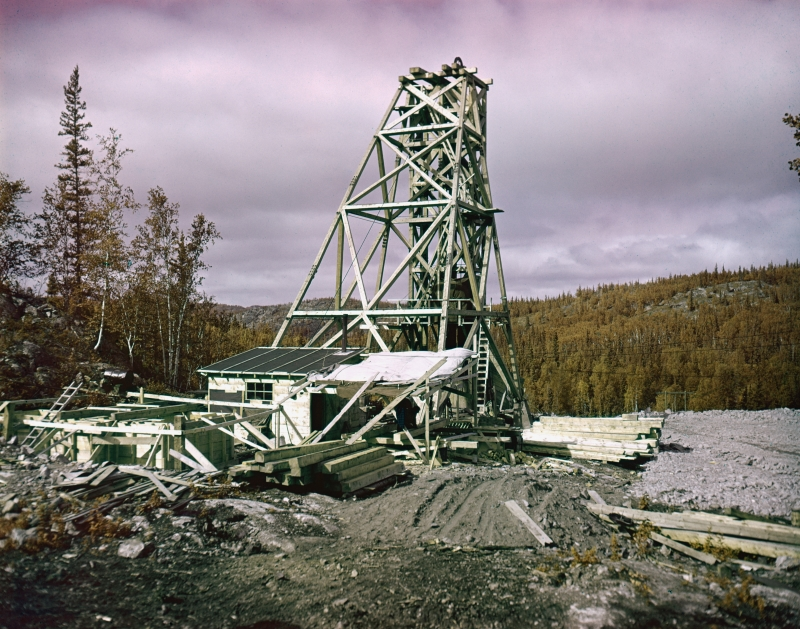 construction of headframe at nicholson mine