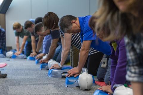 src employees practice on-site first aid training