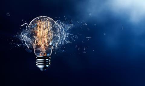 lightbulb exploding to symbolize disruptive innovation