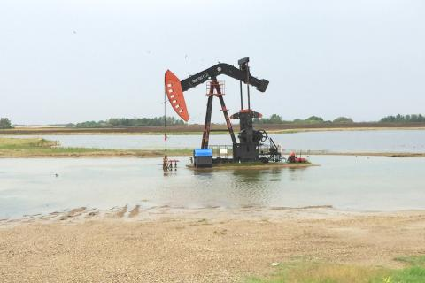 oil rig in water in souris watershed