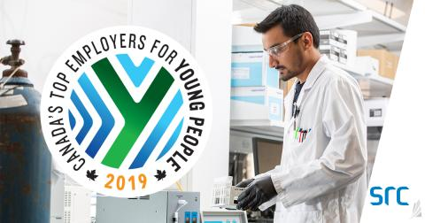src is named among Canada's Top Employers for Young People young man working in lab