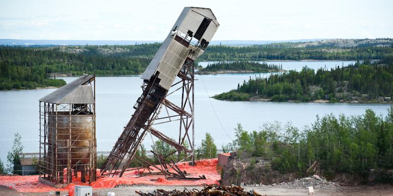 demolition of a mine headframe