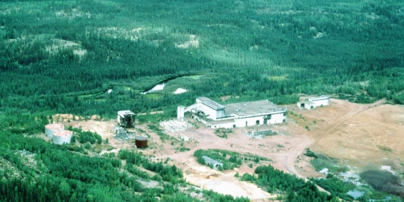 aerial photo of mill site in 1980s