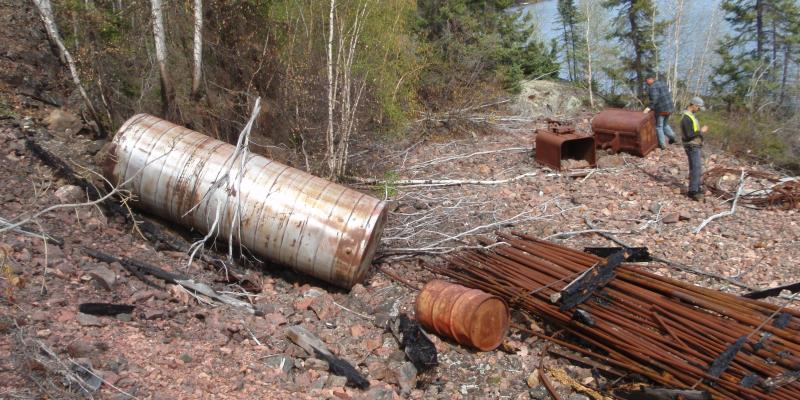 Mining debris scattered adjacent to the Baska Dot Claim mine by Virgin Lake, Sask.